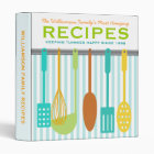 Retro Look Family Recipes Personalized 3 Ring Binder