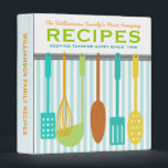"""Retro Look Family Recipes Personalized 3 Ring Binder<br><div class=""""desc"""">Fun retro/vintage look kitchen utensils on the wall on this personalized recipe binder - customize the text to make this awesome recipe binder entirely unique!</div>"""