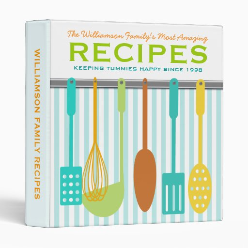 Retro Look Family Recipes Personalized 3 Ring Binders