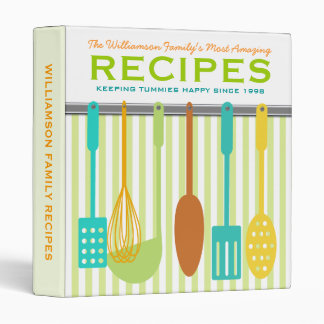 Retro Look Family Recipes Personalized Vinyl Binder