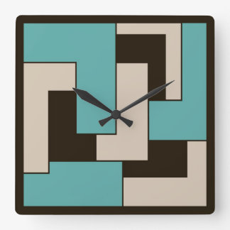 Retro Look Geometric Pattern Cream Teal Brown Square Wall Clock