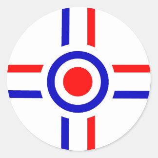 Retro Look Mod Cross Design Classic Round Sticker