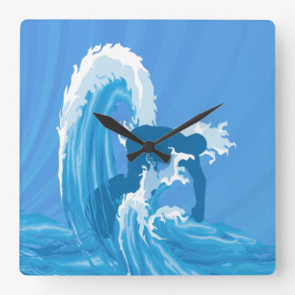 Retro look surfe square wall clock