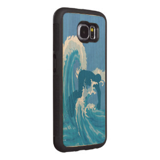 Retro look surfer art wood phone case