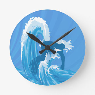 Retro look surfer surfing round clock