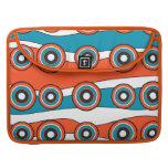 Retro look turquoise and orange circle wave sleeve for MacBook pro