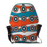 Retro look turquoise and orange circle wave courier bags