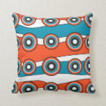 Retro look turquoise and orange circle wave pillows
