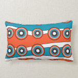 Retro look turquoise and orange circle wave throw pillow