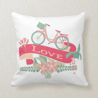 Retro Love Bicycle Floral Banner Throw Pillow