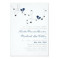 Retro Love Birds and Hearts Wedding Invitations