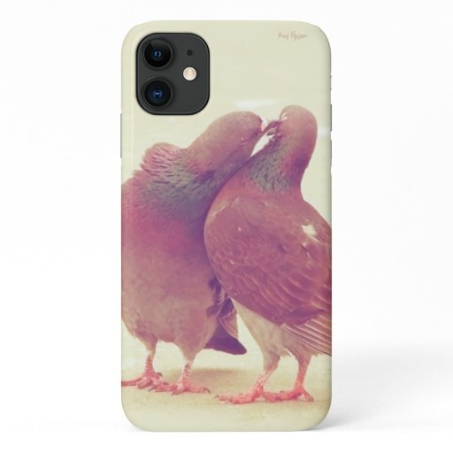 Retro Love Birds Kissing Pigeon iPhone 11 Case