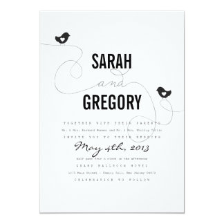 Retro Love Birds Wedding Invitations