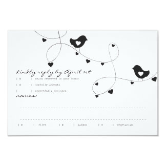 Retro Love Birds with Hearts Response Card