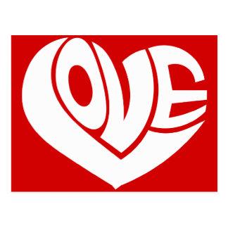 Retro Love Heart Text Typography Postcard