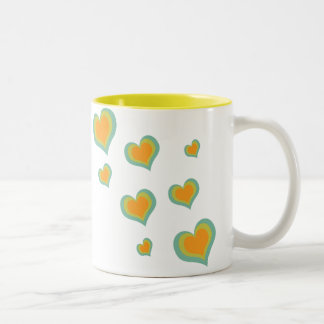 Retro Love Hearts for Valentines Day Two-Tone Coffee Mug