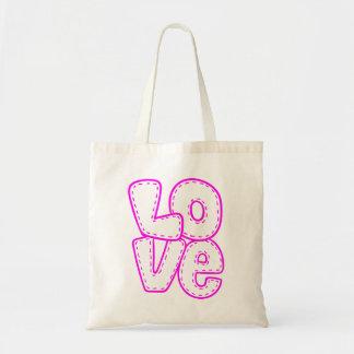 Retro Love Hot Pink Purple Wedding Bridal Shower Tote Bag