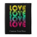 Retro Love, Neon on Black grunge iPad Folio Cover