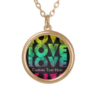Retro Love, Neon on Black grunge Personalized Necklace