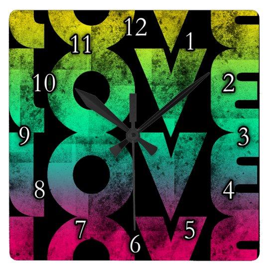 Retro Love, Neon on Black grunge Square Wall Clock