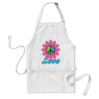 Retro Love Peace Flower Adult Apron