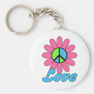 Retro Love Peace Flower Hippie Tees, GIfts Key Chains