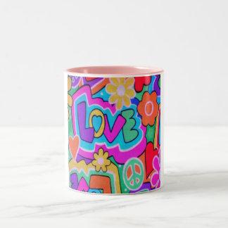 Retro Love Peace Flowers Coffee Cup Mug