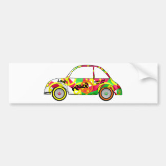 Retro Love Peace Retro 60's 70's Car Bumper Sticker