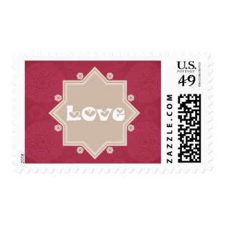 Retro Love Red Maroon Circle & Stars  Stamps