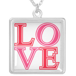 Retro Love Stacked in Pink Punch Square Pendant Necklace