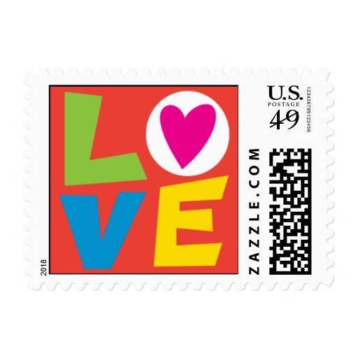 Retro Love Stamp red