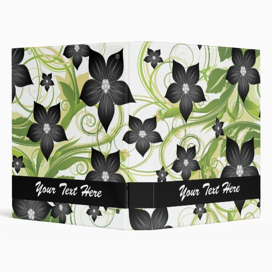 retro lovely black and white flowers floral binder