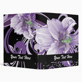 retro lovely purple flowers floral binder