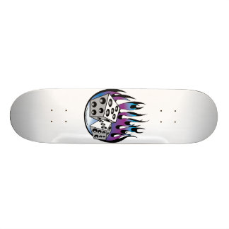 Retro Lucky 7 dice and flames art Skate Deck