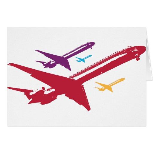Retro Mad Dog Airplane Jet Flight Design Cards