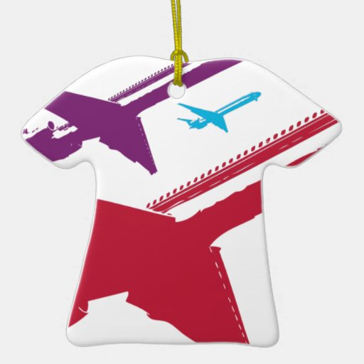 Retro Mad Dog Airplane Jet Flight Design Ceramic Ornament