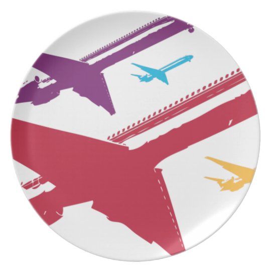 Retro Mad Dog Airplane Jet Flight Design Melamine Plate