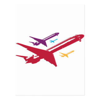 Retro Mad Dog Airplane Jet Flight Design Postcard
