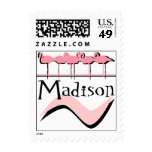 Retro Madison Wisconsin City Bird Stamps Flamingos