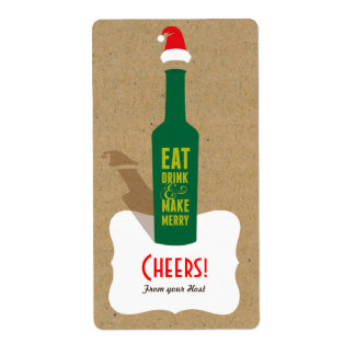 Retro Make Merry Gift Label - Favors, Hostess Gift Shipping Label