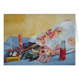 retro make up bag still life realist painting card