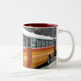 Retro Malta bus Two-Tone Coffee Mug