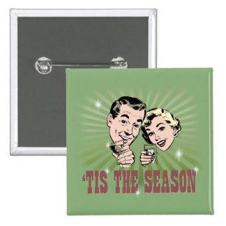 """Retro Man and Woman """"Tis the Season"""" Pinback Button"""