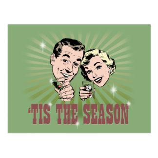 """Retro Man and Woman """"Tis the Season"""" Postcard"""