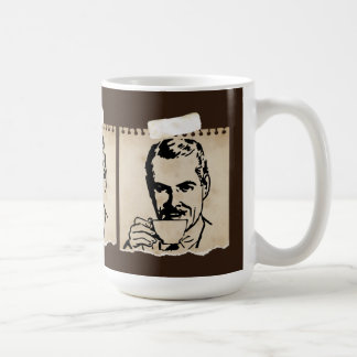Retro Man Drinking Coffee On Grunge Paper Classic White Coffee Mug