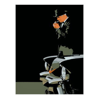 Retro, man in black, black cadillac poster