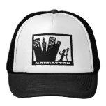 Retro Manhattan black-and-white drawing Trucker Hat