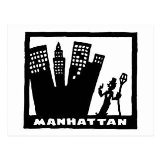 Retro Manhattan black-and-white drawing Postcard