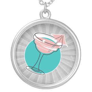 retro margarita design round pendant necklace