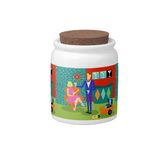 Retro Martini Couple Candy Jar
